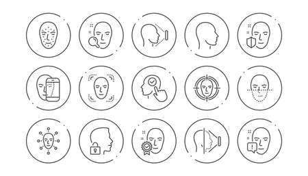 Face recognize line icons. Biometrics detection, Face id and scanning. Identification linear icon set. Line buttons with icon. Editable stroke. Vector Stock Illustratie