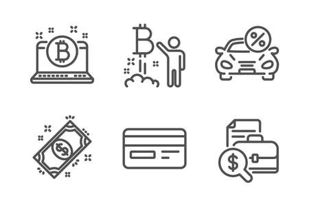 Credit card, Payment and Bitcoin project icons simple set. Car leasing, Bitcoin and Accounting report signs. Card payment, Finance. Finance set. Line credit card icon. Editable stroke. Vector