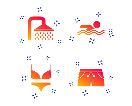 Swimming pool icons. Shower water drops and swimwear symbols. Human swims in sea waves sign. Trunks and women underwear. Random dynamic shapes. Gradient swimming icon. Vector