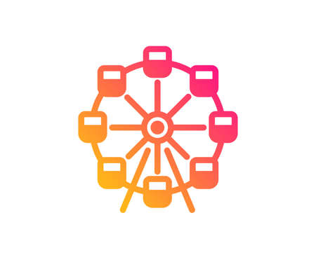 Ferris wheel icon. Amusement park sign. Carousels symbol. Classic flat style. Gradient ferris wheel icon. Vector Illustration