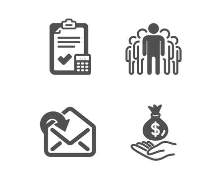 Set of Accounting checklist, Receive mail and Group icons. Income money sign. Calculator, Incoming message, Managers. Savings.  Classic design accounting checklist icon. Flat design. Vector Standard-Bild - 125956680