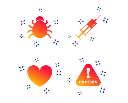 Bug and vaccine syringe injection icons. Heart and caution with exclamation sign symbols. Random dynamic shapes. Gradient bug icon. Vector