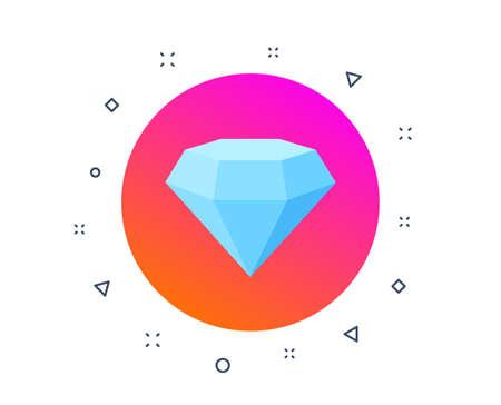 Diamond crystal icon. Jewelry or brilliant sign. Royal treasure symbol. Luxury diamond, crystal jewel. Engagement or marriage gemstone. Random dynamic shapes. Gradient diamond crystal button. Vector Ilustrace