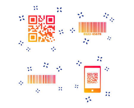 Bar and Qr code icons. Scan barcode in smartphone symbols. Random dynamic shapes. Gradient barcode icon. Vector Illustration