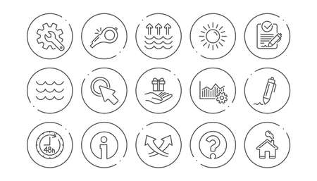 Waves, Whistle and Global warming line icons. Signature, Analytics and Question mark. Linear icon set. Line buttons with icon. Editable stroke. Vector