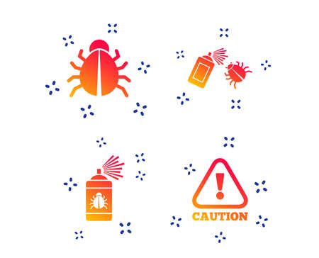 Bug disinfection icons. Caution attention symbol. Insect fumigation spray sign. Random dynamic shapes. Gradient insect icon. Vector