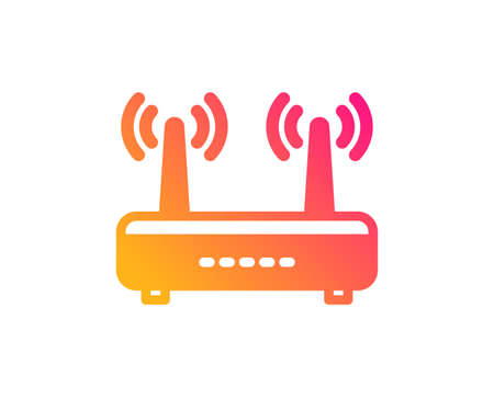 Wifi router icon. Computer component sign. Internet symbol. Classic flat style. Gradient wifi icon. Vector