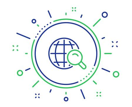 Global Search line icon. World or Globe sign. Website search engine symbol. Quality design elements. Technology internet Search button. Editable stroke. Vector Banque d'images - 125956760