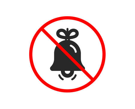 No or Stop. Christmas bell icon. New year tree decoration sign. Prohibited ban stop symbol. No bell icon. Vector Illustration