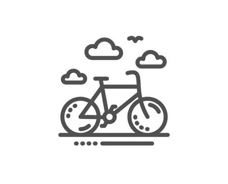 Bike rental line icon. Bicycle rent sign. Hotel service symbol. Quality design element. Linear style bike rental icon. Editable stroke. Vector