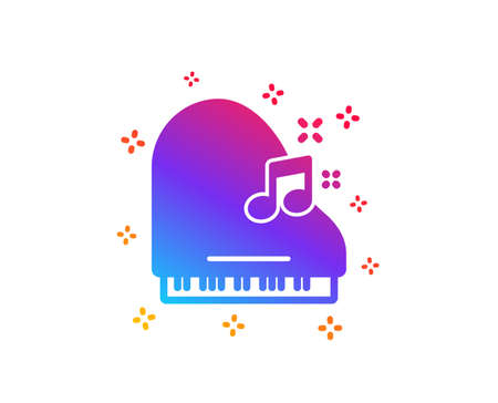 Piano icon. Musical instrument sign. Music note symbol. Dynamic shapes. Gradient design piano icon. Classic style. Vector