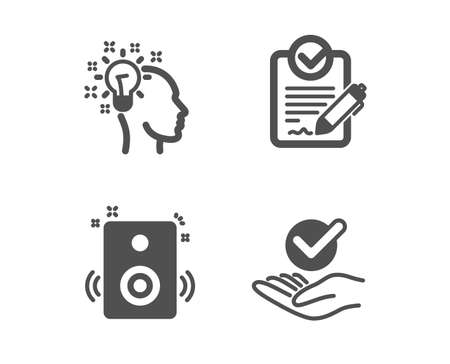 Set of Rfp, Idea and Speakers icons. Approved sign. Request for proposal, Creative designer, Sound. Verified symbol.  Classic design rfp icon. Flat design. Vector