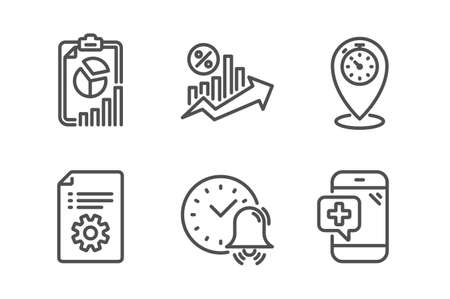Alarm bell, Report and Technical documentation icons simple set. Loan percent, Timer and Medical phone signs. Time, Presentation chart. Technology set. Line alarm bell icon. Editable stroke. Vector