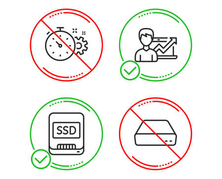Do or Stop. Cogwheel timer, Ssd and Success business icons simple set. Mini pc sign. Engineering tool, Memory disk, Growth chart. Computer. Science set. Line cogwheel timer do icon. Vector Illustration
