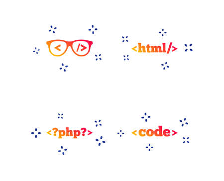 Programmer coder glasses icon. HTML markup language and PHP programming language sign symbols. Random dynamic shapes. Gradient code icon. Vector