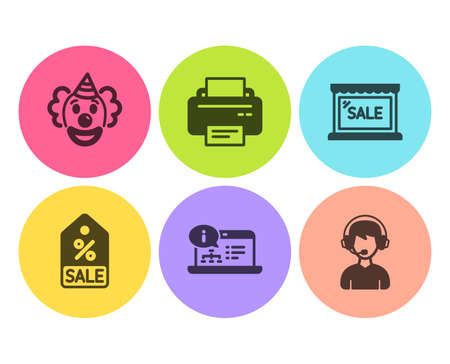 Sale coupon, Sale and Printer icons simple set. Online documentation, Clown and Consultant signs. Discount tag, Shopping store. Business set. Flat sale coupon icon. Circle button. Vector