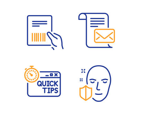 Parcel invoice, Mail letter and Quick tips icons simple set. Face protection sign. Delivery document, Read e-mail, Helpful tricks. Secure access. Business set. Linear parcel invoice icon. Vector Banque d'images - 125956997