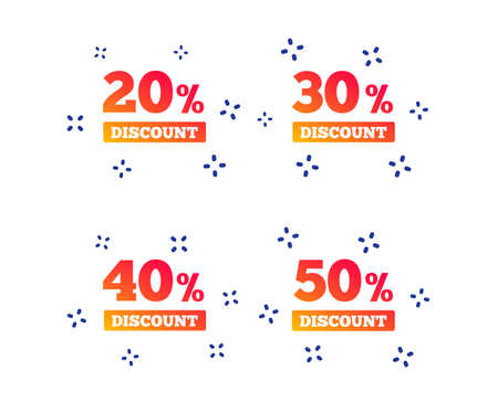 Sale discount icons. Special offer price signs. 20, 30, 40 and 50 percent off reduction symbols. Random dynamic shapes. Gradient discount icon. Vector
