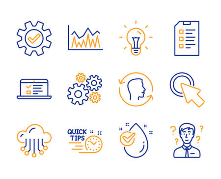Checklist, Investment and Cloud storage icons simple set. Click here, Cogwheel and Service signs. Idea, Quick tips and Web lectures symbols. Face id, Water drop and Support consultant. Vector Ilustração