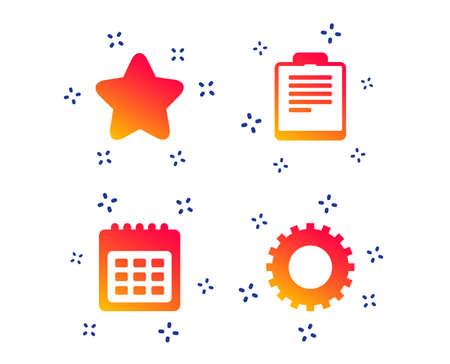 Calendar and Star favorite icons. Checklist and cogwheel gear sign symbols. Random dynamic shapes. Gradient calendar icon. Vector Vecteurs