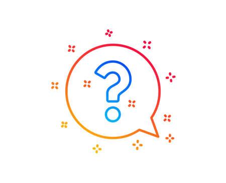 Question mark line icon. Help speech bubble sign. FAQ symbol. Gradient design elements. Linear question mark icon. Random shapes. Vector