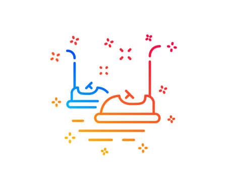 Bumper cars line icon. Amusement park sign. Gradient design elements. Linear bumper cars icon. Random shapes. Vector Illustration