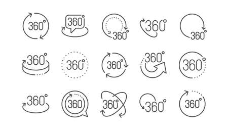 360 degrees line icons. Rotate arrow, VR panoramic simulation and augmented reality. 360 degrees virtual gaming, abstract geometry, full rotation view icons. Linear set. Vector
