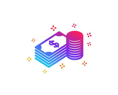 Cash money icon. Banking currency sign. Dollar or USD symbol. Dynamic shapes. Gradient design savings icon. Classic style. Vector 向量圖像