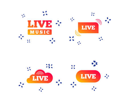 Live music icons. Karaoke or On air stream symbols. Cloud sign. Random dynamic shapes. Gradient live icon. Vector