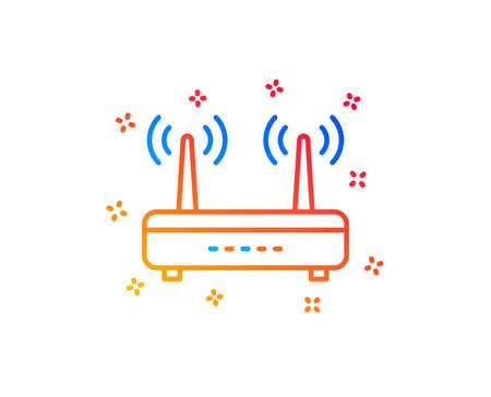 Wifi router line icon. Computer component sign. Internet symbol. Gradient design elements. Linear wifi icon. Random shapes. Vector Illustration