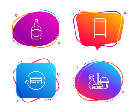 Smartphone, Refund commission and Whiskey bottle icons simple set. Household service sign. Cellphone or phone, Cashback card, Scotch alcohol. Cleaning equipment. Speech bubble smartphone icon. Vector