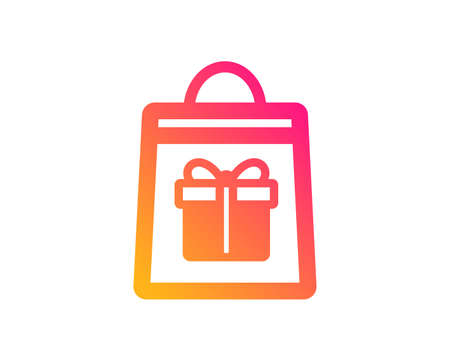 Shopping bag with Gift box icon. Present or Sale sign. Birthday Shopping symbol. Package in Gift Wrap. Classic flat style. Gradient holidays shopping icon. Vector