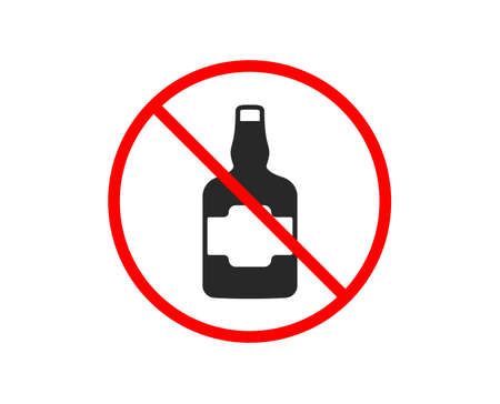 No or Stop. Whiskey bottle icon. Scotch alcohol sign. Prohibited ban stop symbol. No whiskey bottle icon. Vector