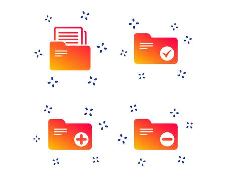 Accounting binders icons. Add or remove document folder symbol. Bookkeeping management with checkbox. Random dynamic shapes. Gradient accounting icon. Vector