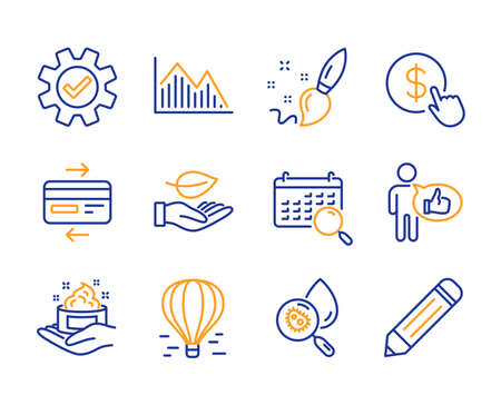 Skin care, Search calendar and Water analysis icons simple set. Service, Leaf and Investment graph signs. Buy currency, Paint brush and Air balloon symbols. Like, Credit card and Pencil. Vector Foto de archivo - 126173953