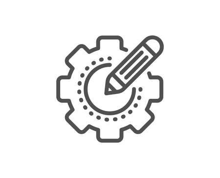 Instellingen tandwiel lijn icoon. Tandrad met sterrenbeeld. Werkprocessymbool bewerken. Kwaliteitsontwerpelement. Lineaire stijl instellingen versnellingspictogram. Bewerkbare streek. Vector Vector Illustratie