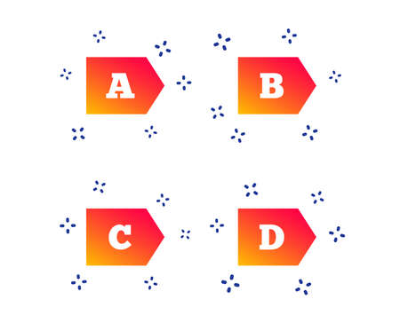 Energy efficiency class icons. Energy consumption sign symbols. Class A, B, C and D. Random dynamic shapes. Gradient efficiency icon. Vector
