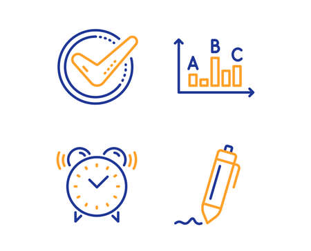 Alarm clock, Survey results and Confirmed icons simple set. Signature sign. Time, Best answer, Accepted message. Written pen. Business set. Linear alarm clock icon. Colorful design set. Vector