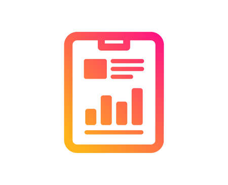Report document icon. Analysis Chart or Sales growth sign. Statistics data symbol. Classic flat style. Gradient report document icon. Vector
