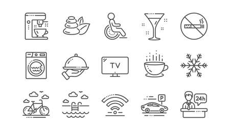 Hotel service line icons. Wi-Fi, Air conditioning and Coffee maker machine. Spa stones, swimming pool and hotel parking icons. Linear set. Vector
