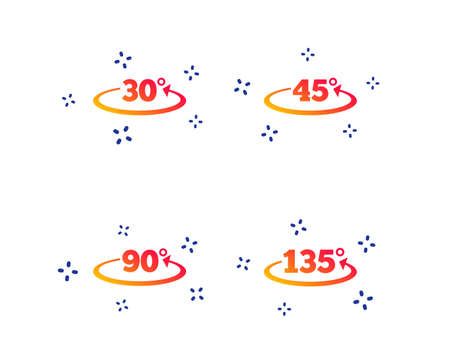 Angle 30-135 degrees icons. Geometry math signs symbols. Full complete rotation arrow. Random dynamic shapes. Gradient degree icon. Vector