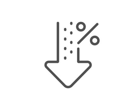 Low percent line icon. Discount sign. Credit percentage decrease symbol. Quality design element. Linear style low percent icon. Editable stroke. Vector Illustration