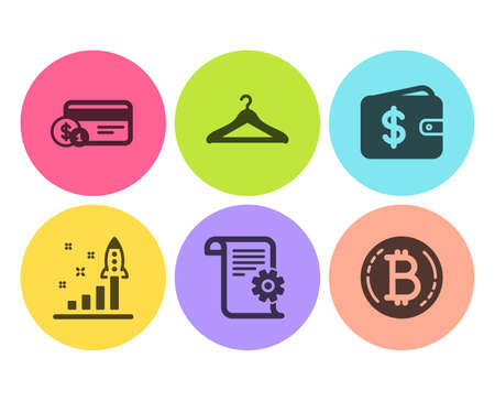 Dollar wallet, Technical documentation and Payment method icons simple set. Development plan, Cloakroom and Bitcoin signs. Cash money, Manual. Business set. Flat dollar wallet icon. Circle button Ilustracja