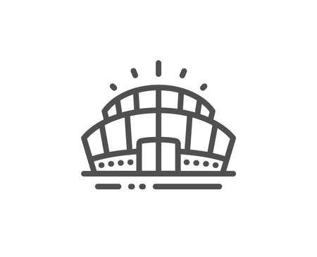 Arena stadium line icon. Sport complex sign. Championship building symbol. Quality design element. Linear style arena stadium icon. Editable stroke. Vector 向量圖像