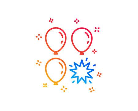 Balloon dart line icon. Amusement park sign. Pop the balloon symbol. Gradient design elements. Linear balloon dart icon. Random shapes. Vector