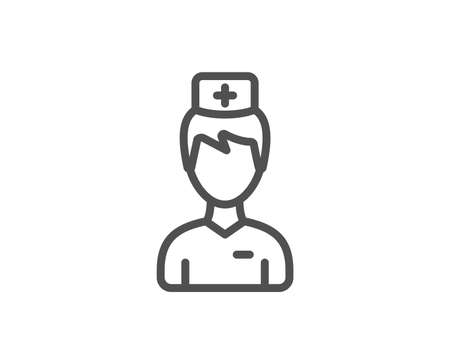 Doctor line icon. Medicine drugs sign. Pharmacy medication symbol. Quality design element. Linear style doctor icon. Editable stroke. Vector