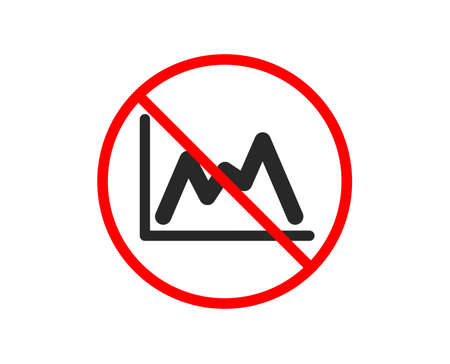 No or Stop. Line chart icon. Financial growth graph sign. Stock exchange symbol. Prohibited ban stop symbol. No diagram icon. Vector