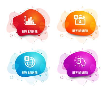 Insignias líquidas. Conjunto de iconos de dinero mundial, préstamo de viaje y gráfico de diagrama. Bitcoin piensa en signo. Cuadro de presentación, descuento de viaje, mercados globales. Cabeza de criptomoneda. Icono de gráfico de diagrama de degradado