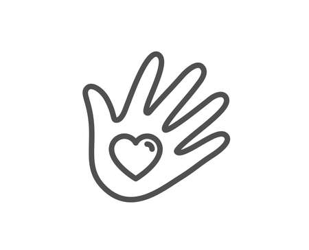 Social responsibility line icon. Hand with heart sign. Charity symbol. Quality design element. Linear style social responsibility icon. Editable stroke. Vector