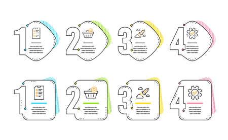 Delete order, Checklist and Startup rocket icons simple set. Service sign. Clean basket, Data list, Business innovation. Cogwheel gear. Business set. Infographic timeline. Line delete order icon Stock Illustratie